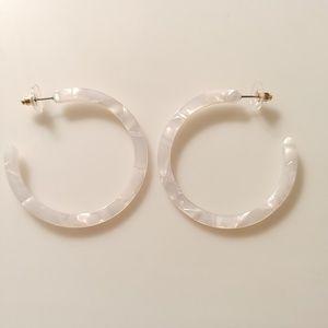 Jewelry - NEW Pearlescent White Acrylic Big Hoop Earrings